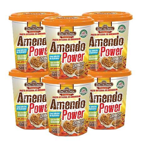 Kit 06 unidades de Amendo Power Crunchy com Granulado de Amendoim 500g