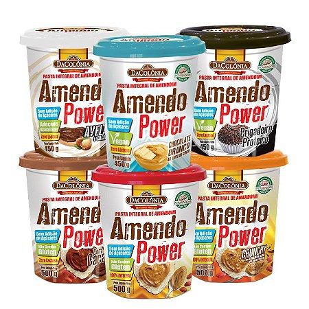 COMBO MAIS ENERGIA - Kit com 06  Amendo Power (1 un de cada sabor: Avelã, Choco Branco, Brigadeiro, Cacau, Tradicional e Crunchy)