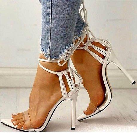 Sandália Salto Fino Bico Folha