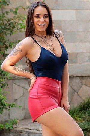 Shorts de Couro Ecológico Vermelho