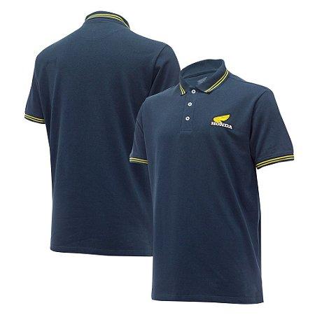 Camiseta Polo  Bordada - Azul - Coleção Vintage TAM: P,M e G