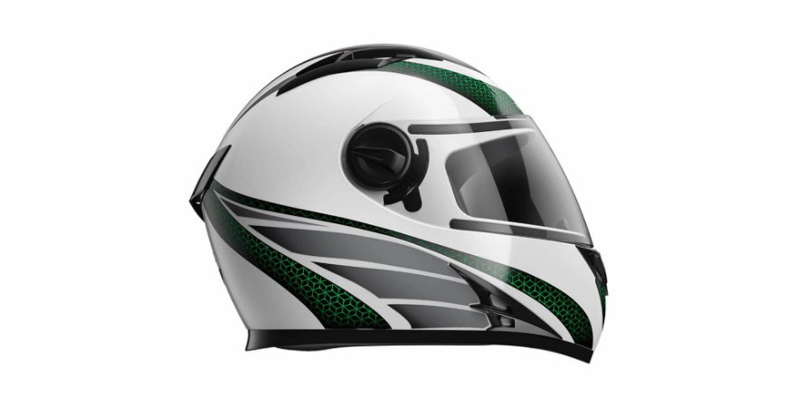 Capacete Honda HF2 Branco/Verde TAM:60