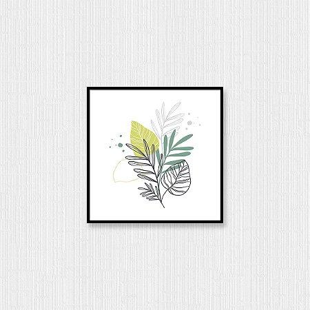 Quadro Decorativo Folhas Desenhadas