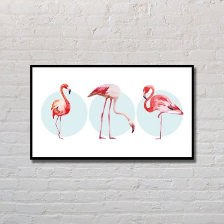 Quadro Decorativo Flamingos Acrobáticos