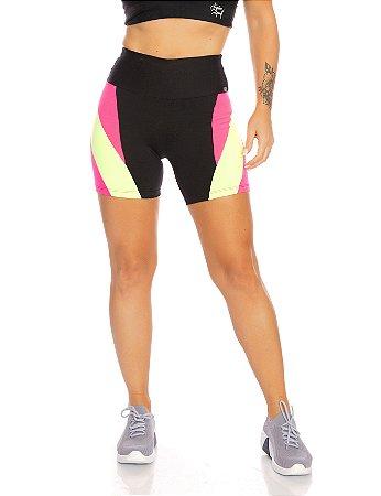 Shorts akira rosa com amarelo