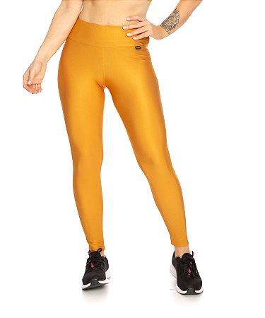Legging Linda Cintura Alta Efeito Gloss Amarela