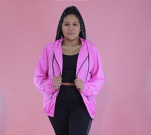 Jaqueta corta vento rosa