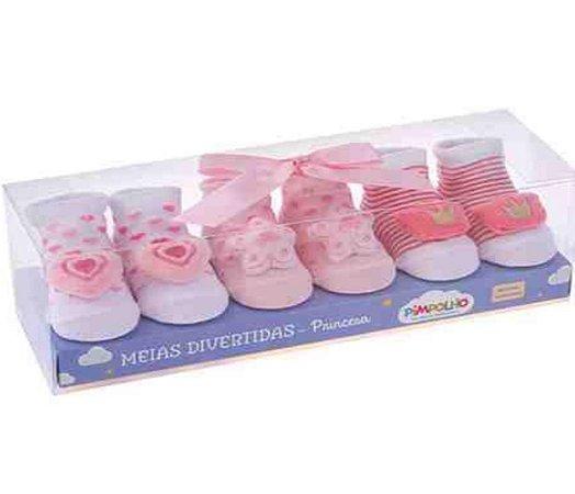 Kit com 3 meias divertidas Feminino Pimpolho - RN