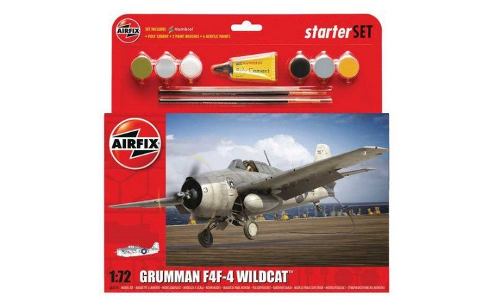 AIRFIX - GRUMMAN F4F-4 WILDCAT STARTER SET - 1/72