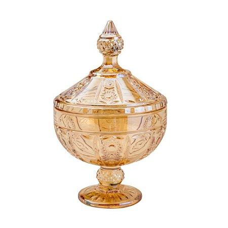 Potiche Versailles Cristal com Pé 15X24cm Âmbar
