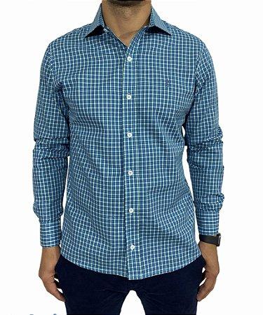 Camisa Manga Longa Xadrez Verde/Royal/Branco