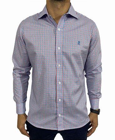 Camisa Manga Longa Xadrez azul/Vermelho