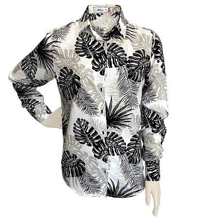 Camisa Feminina Viscose Estampada Folhagens Branca, Preto e Bege