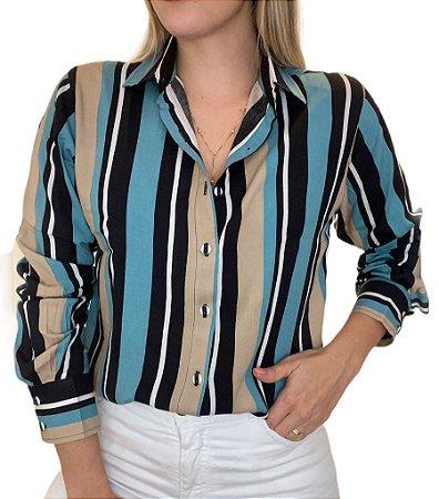 Camisa Feminina Viscose Listrada de Azul/Preto/Branco/Bege