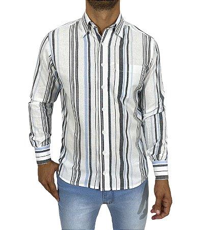 Camisa Listrada Branca/Cinza/Azul