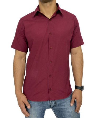Camisa Manga Curta Vinho