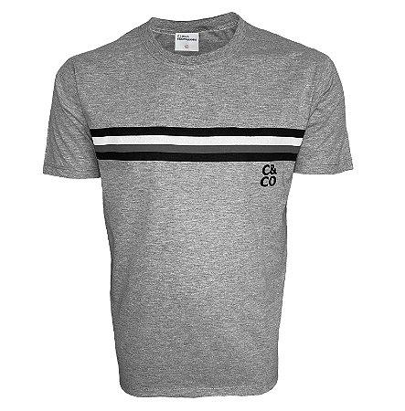 Camiseta Mescla Com Listras Preta/Cinza/Branca
