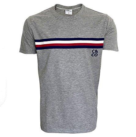 Camiseta Mescla Com Listras Marinho/Branca/Vinho