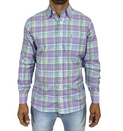 Camisa Xadrez Lilás/Verde/Azul