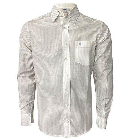 Camisa Branca Listra Cinza