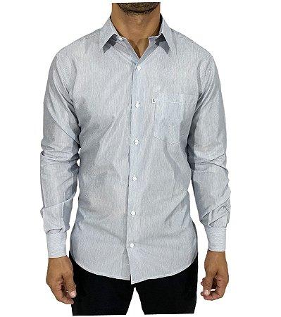 Camisa Branca Listra Cinza Claro