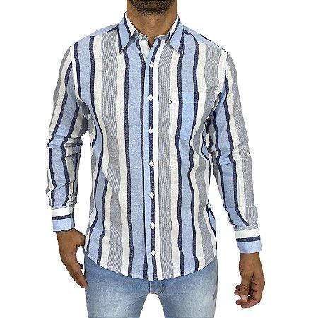 Camisa Listrada Branca/Azul Claro/Azul Escuro