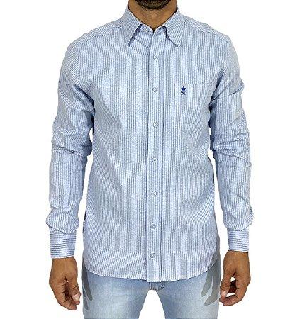 Camisa Azul Claro Listra Azul Escuro