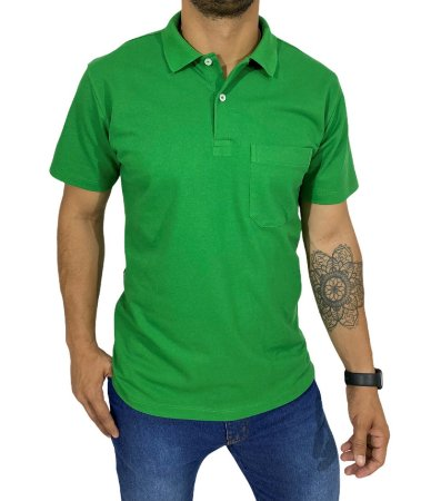 Camiseta Polo Com Bolso Verde Bandeira