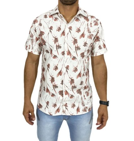 Camisa Manga Curta Floral Laranja