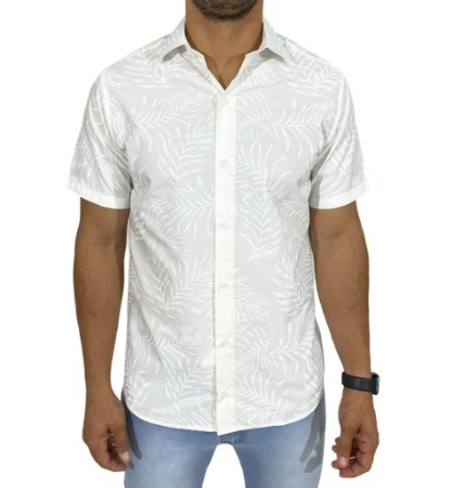 Camisa Manga Curta Floral Branca