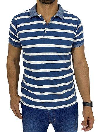 Camiseta Polo Azul Com Listra Branca