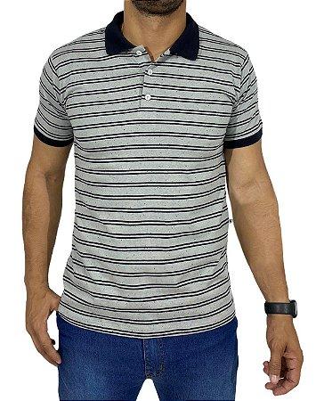Camiseta Polo Cinza Com Listra Preta