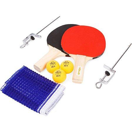 KIT Tênis de Mesa com 2 Raquetes 3 Bolas e 1 Rede