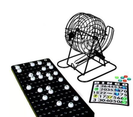 Bingo Jogo Recreação Família Completo Com Globo Giratorio Metal e Cartelas