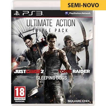 Jogo Ultimate Action Triple Pack Just Cause 2 Sleeping Dogs Tomb Raider - PS3 (Seminovo)