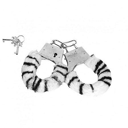 Algemas reguláveis com chaves e pelúcia Zebra - Sexshop
