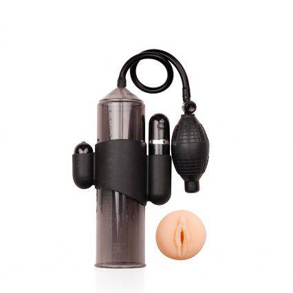 Aparelho peniano com 10 vibrações, bomba manual e vagina em cyberskin - LUST PUMPER - NANMA - Sexshop
