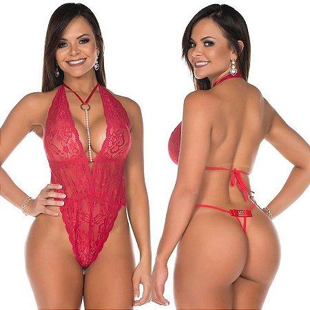 Body Luxo Renda Nefertite Vermelho Pimenta Sexy - Lingerie Sexy
