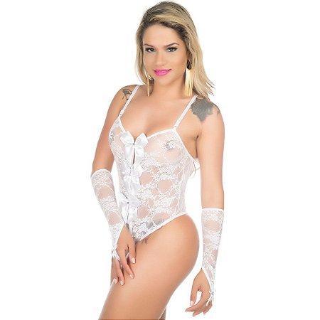 Body Sensual Lacinho Branco Rendado Pimenta Sexy - Lingerie Sexy