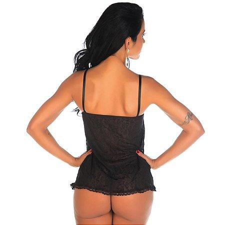 Camisola Sensual Aninha Preta Pimenta Sexy - Camisola Sexy