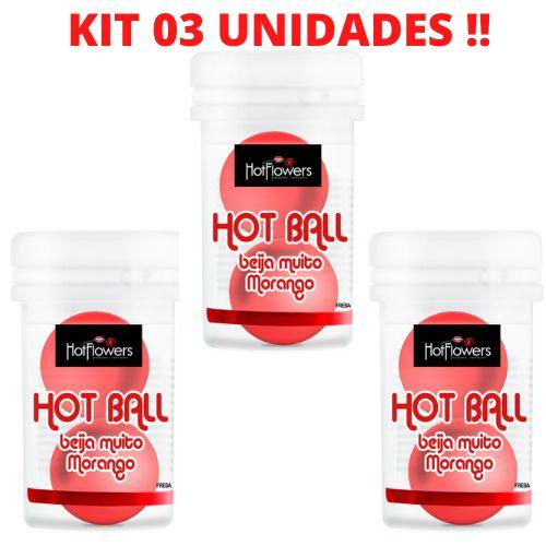 kit 03 Bolinhas Beija Muito Morango HotFlowers – Sexshop