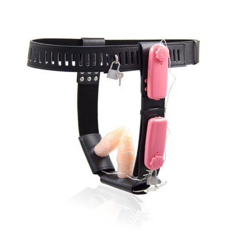 Cinto de Castidade Feminina com 2 Plugs para Penetração e Cadeado - Sexshop