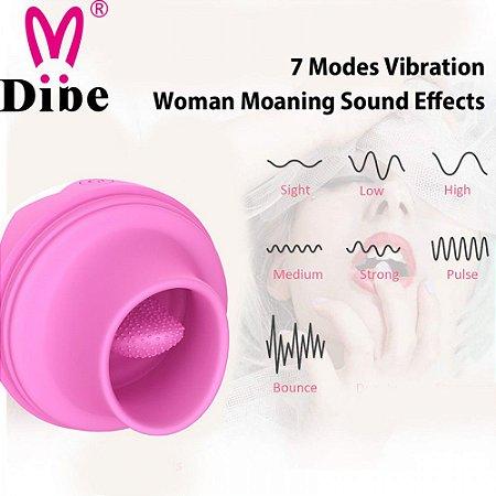 Estimulador clitoriano em formato coelho, Vai e Vem com linguá - Dibe - Sexshop
