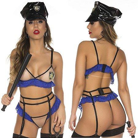 Fantasia Feminina Policial Americana Pimenta Sexy