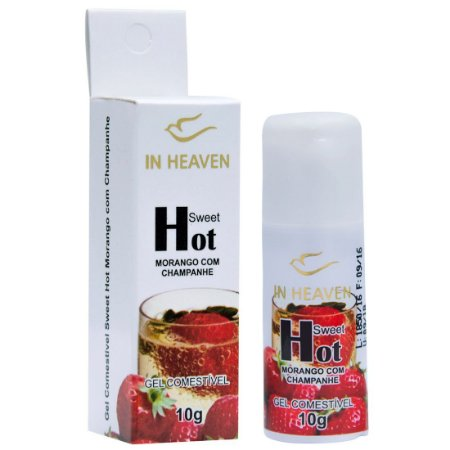 In Heaven Gel Comestível MORANGO COM CHAMPANHE Hot 10G INTT - Sex shop