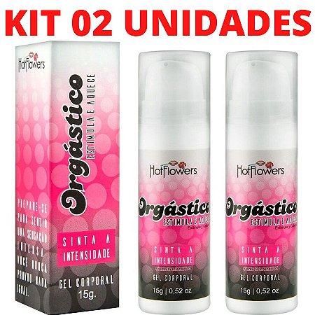 Kit 02 Gel Excitante Orgástico Lubrificante Feminino 15g Hot Flowers - Sex shop