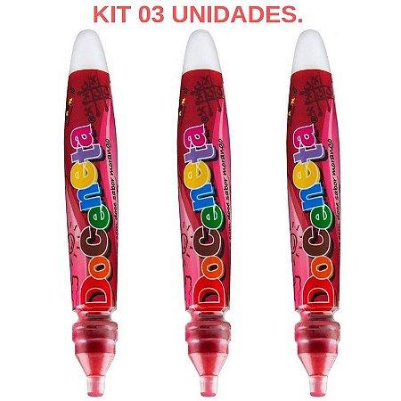 Kit 03 Canetas Comestível Doceneta Morango - Sex shop