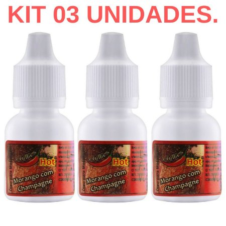 Kit 03 Gotas do Prazer Aromática Morango com Champanhe 8ml Chillies - Sexshop