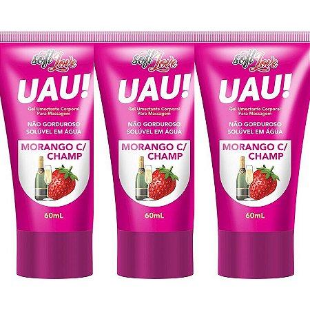 Kit 03 Lubrificante Uau! Aromático Morango com Champanhe 60ml SoftLove - Sexshop