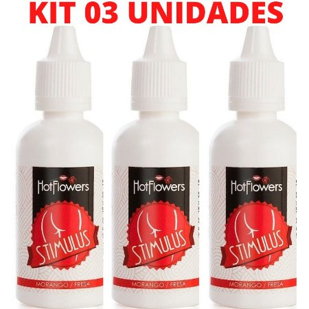Kit 03 Stimulus Óleo de Massagem Anal corporal Morango 15ml Hot Flowers - Sexshop